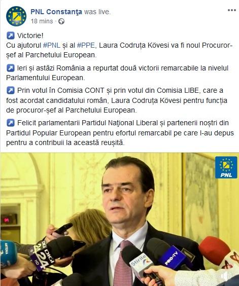 Moment penibilo-hilar la PNL Constanța: au anunțat-o pe Kovesi procuror șef european, deși decizia nu s-a luat încă