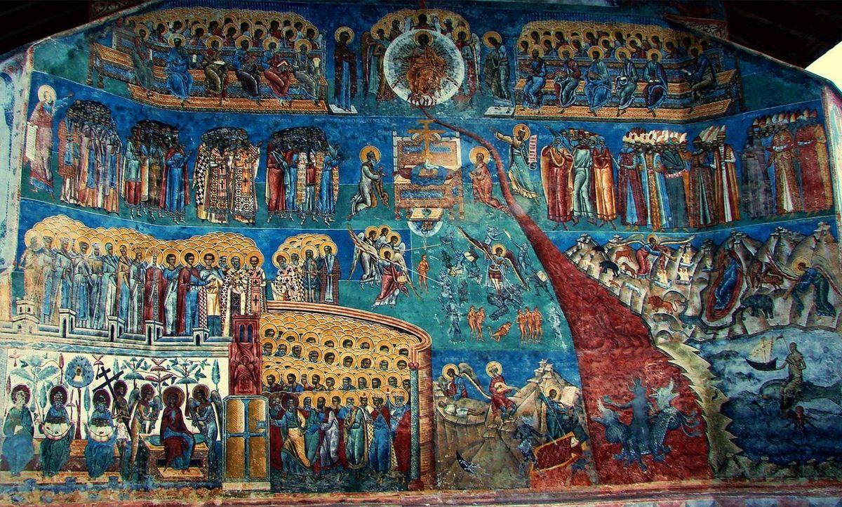 Scena înfricoșătoarei judecăți, pictată într-o biserică