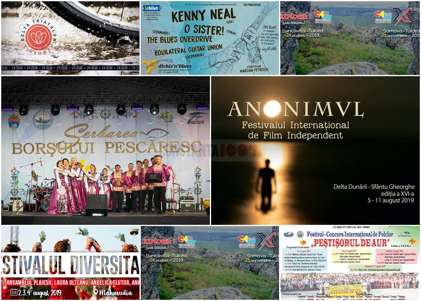 Afișele unei părți din evenimentele care au loc în Delta Dunării și în Tulcea în timpul lunii august