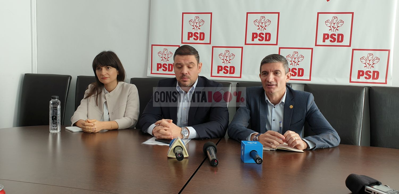 Cristina Dumitrache, Radu Babuș și George Vișan, în timpul conferinței PSD Constanța