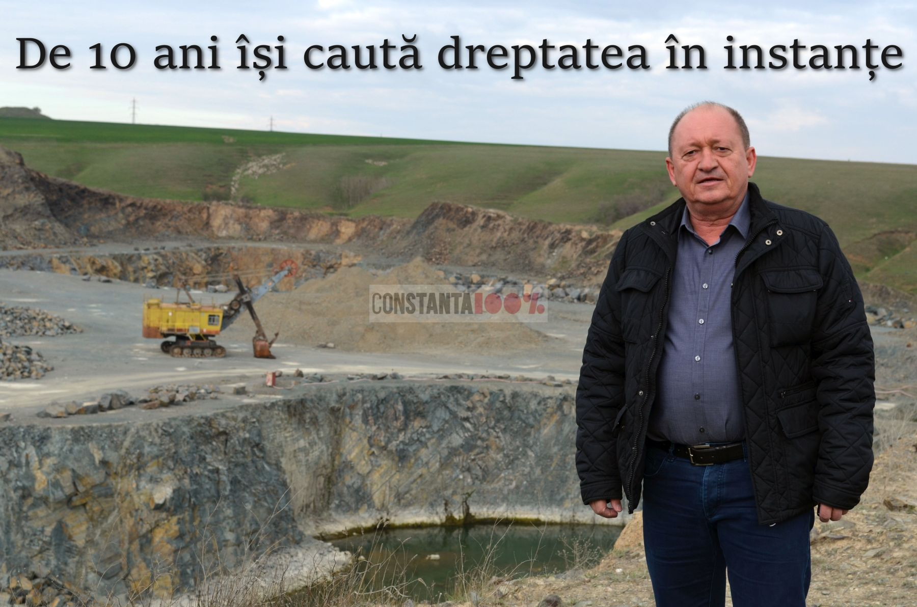 Omul de afaceri Grigore Comănescu, fotografiat chiar la cariera de la Sibioara (foto: Constanța 100%)