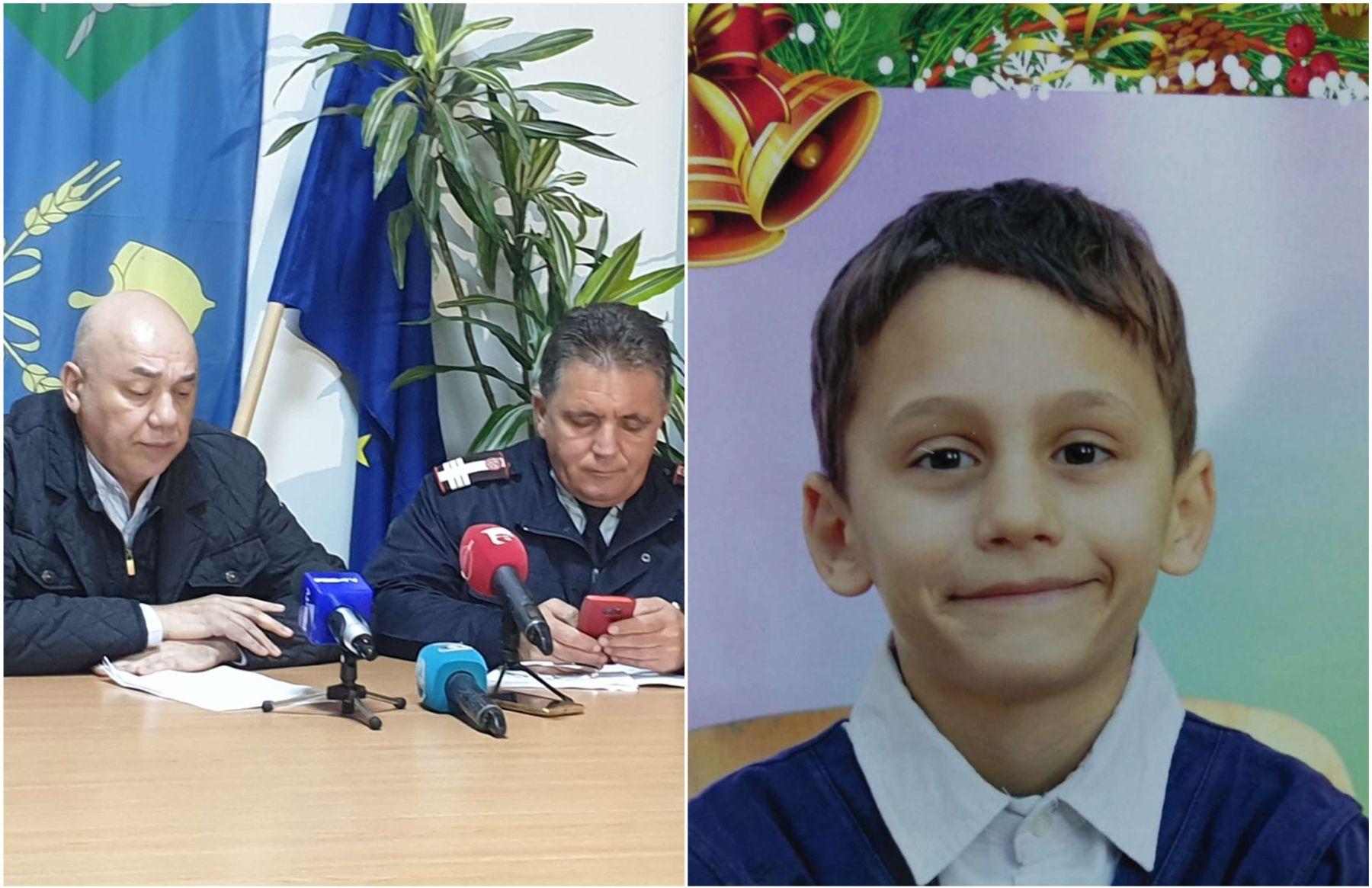 În stânga, șeful IPJ Constanța și șeful ISU Dobrogea, în timpul conferinței de presă susținute vineri, 8 noiembrie 2019, în Pecineagas. În drepta, Alexandru, minorul de 8 ani care a murit înecat în bazinul cu dejecțiile porcilor