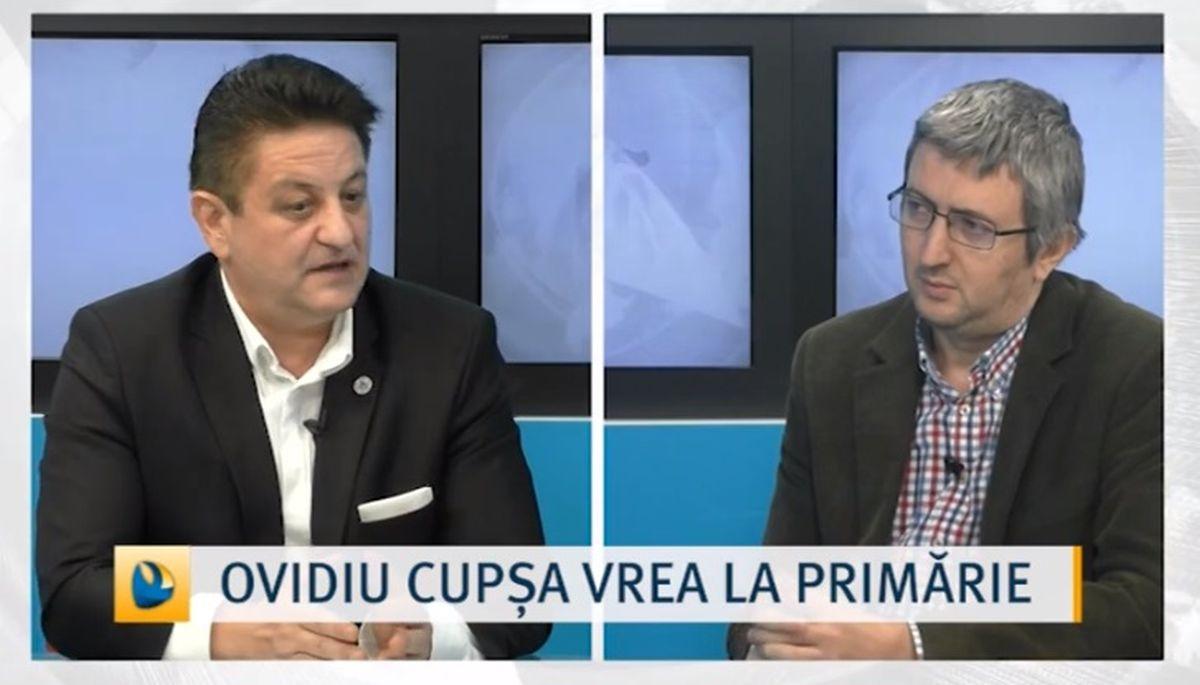 """Ovidiu Cupșa în timpul emisiunii """"Realitatea locală"""" de la Dobrogea TV"""