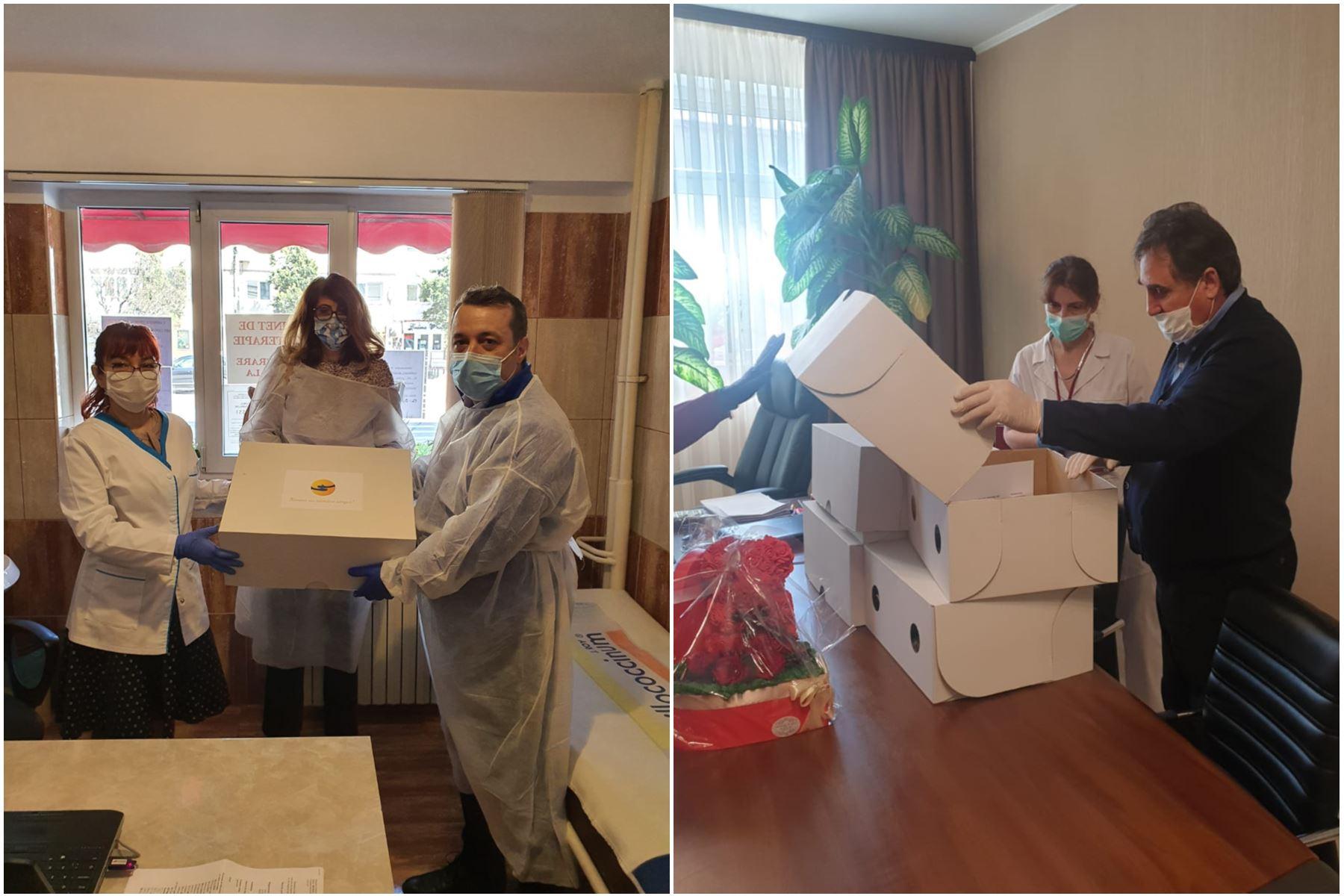 Astăzi, 08.04.2020 au avut loc primele acțiuni de donare a echipamentelor achiziționate din donațiile realizate de inițiatorii platformei Împreună Constanța, la care au participat Ionuț Rusu (foto stânga) și Mihai Lupu