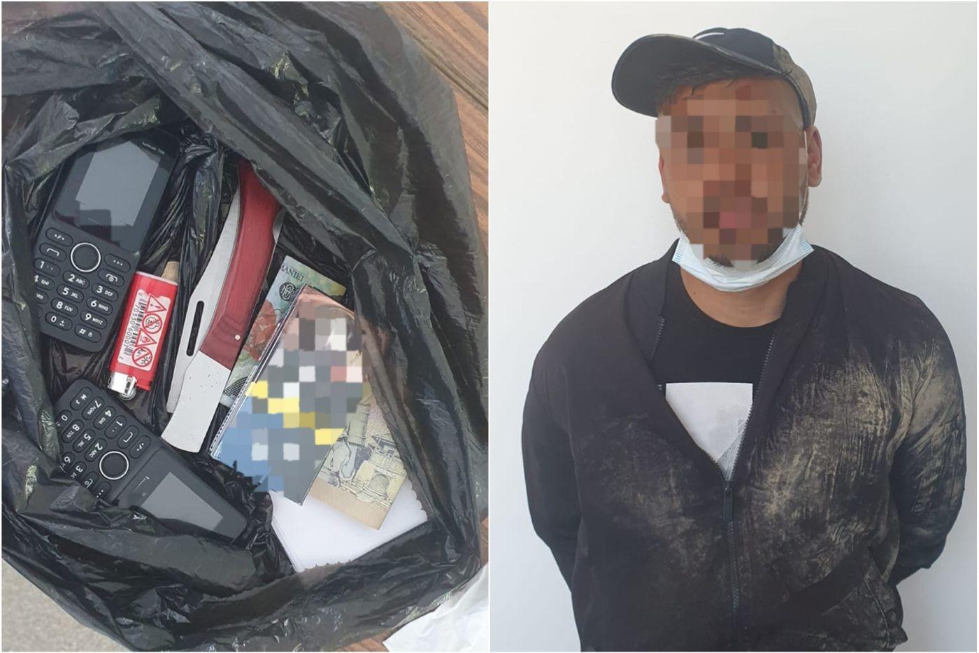 Bărbatul prins în flagrant și bunurile găsite de polițiști asupra sa. Foto: IPJ Constanța