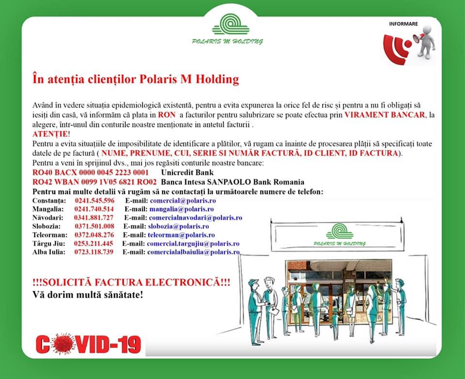 Polaris M Holding recomandă clienților să achite facturile prin virament bancar