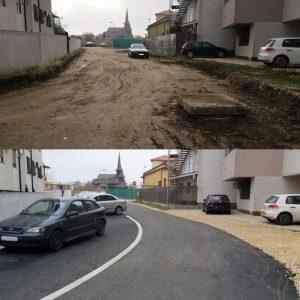 Strada Sf. Ioan Paraschiv din cartierul Compozitorilor, Constanța. Primăria a asfaltat-o dar, din lipsa parcărilor, se parchează pe șosea. Fotografia este realizată chiar de Primăria Constanța