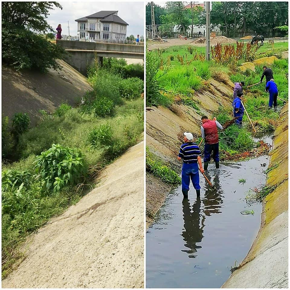 Lucrătorii ABADL curăță canalul colector din Lazu