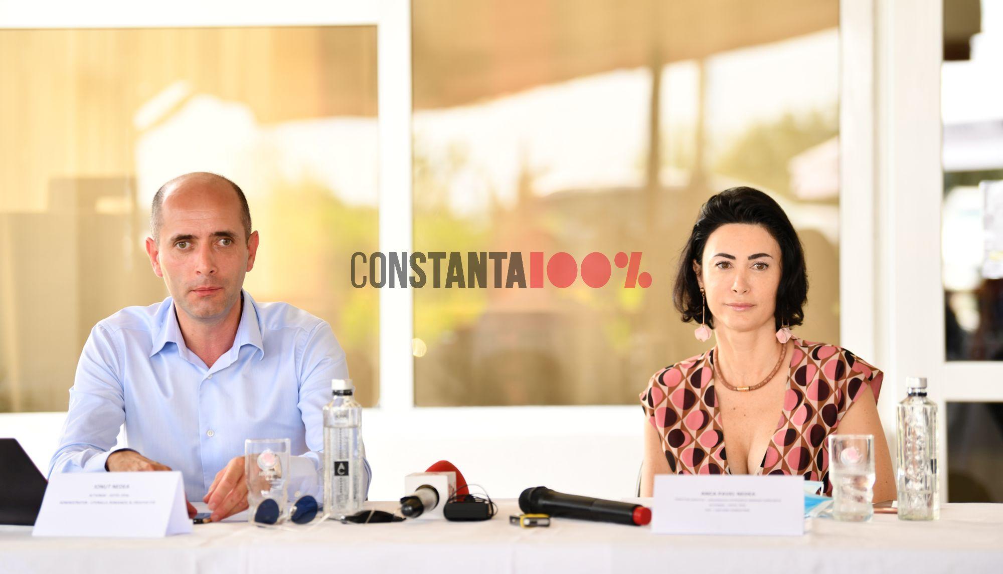 Ionuț Nedea, CEO LitoralulRomanesc.ro, si Anca Nedea, Anca Nedea Pavel, director executiv Organizația Patronală Mamaia - Constanța, în timpul unei conferințe de presă (foto: Matca Vision Studio)