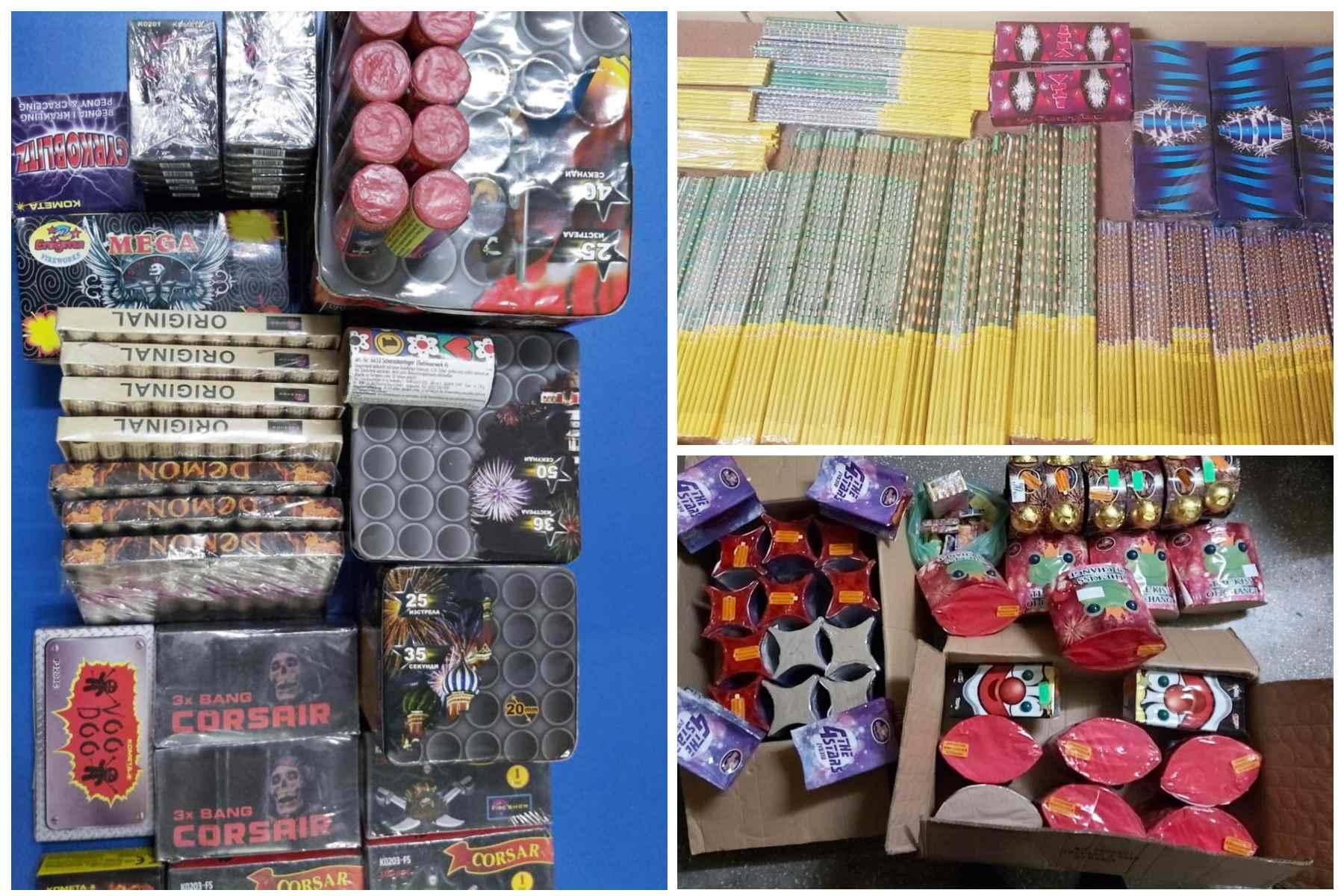 O parte din cele 12.038 materiale pirotehnice confiscate de jandarmii constănțeni