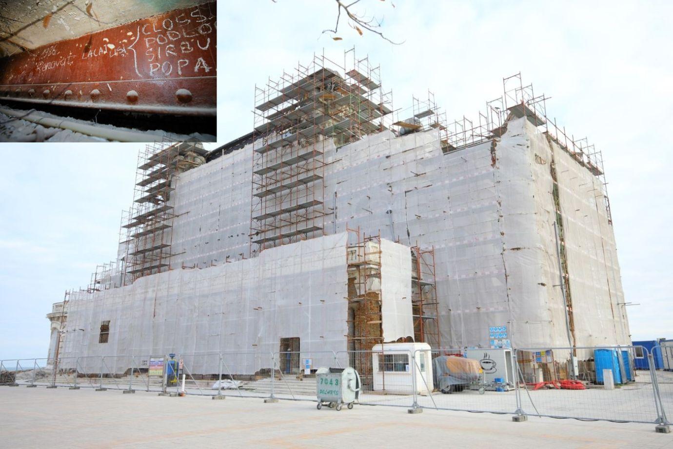 Șantierul Cazinoului din Constanța ascunde adevărate comori. Lucrările avansează lună de lună și fiecare etapă a procesului de restaurare dezvăluie fragmente de istorie și mărturii ale celor care au trudit din greu pentru renovarea edificiului.  De pildă, acum fix 69 de ani, mai mulți deținuți politici lucrau la renovarea.