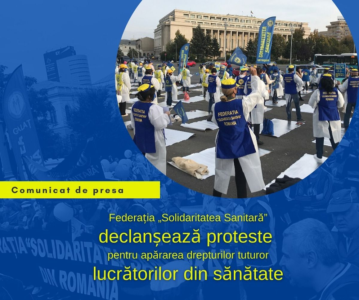 """Federaţia """"Solidaritatea Sanitară"""" începe acțiunile de protest. Care sunt cerințele"""
