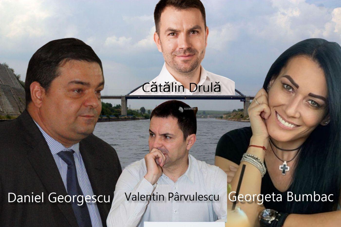 Daniel Georgescu, lider PSD, director general al CNACN, Valentin Pârvulescu, lider PSD, membru în C.A., Cătălin Drulă, ministrul Transporturilor, USR, Georgeta Bumbac, președintele C.A. (nu e membru de partid, dar nașul fiului este președintele PSD Constanța, Felix Stroe)