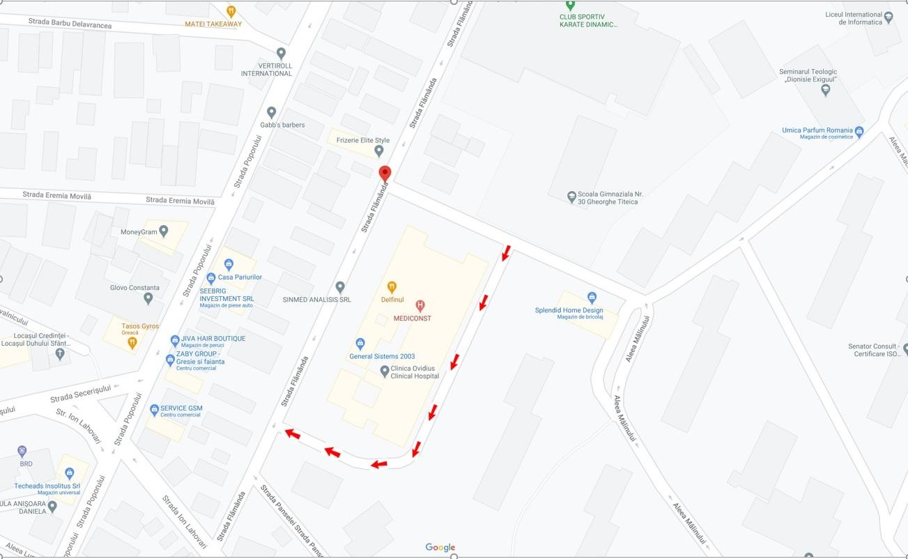 """- pe aleea adiacentă străzii Flămânda se va circula dinspre Școala Gimnazială Nr. 30 """"Gheorghe Țițeica"""" spre strada Flămânda."""