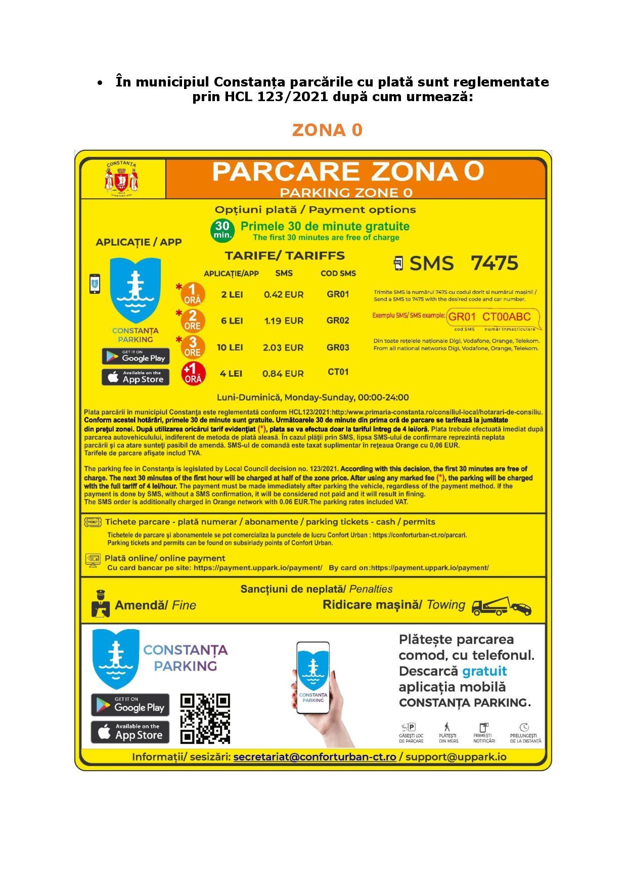 Plata locurilor de parcare din Constanța, din 18 iunie