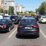 Autobuze și autovehicule blocate la intersecția străzii Soveja cu bulevardul Tomis din Constanța